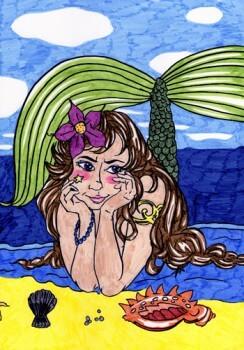 Meerjungfrau mit Tusche gemalt
