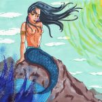 Meerjungfrau auf einem Felsen