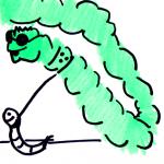 Edding Skizze eines blinden Wurmes und seinem Blindenwurm