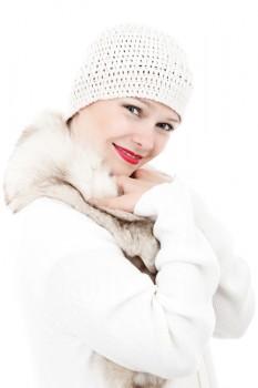 Frau im Wintermantel - Original