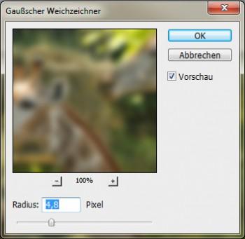 Photoshop: Filter Gaußscher Weichzeichner bearbeiten