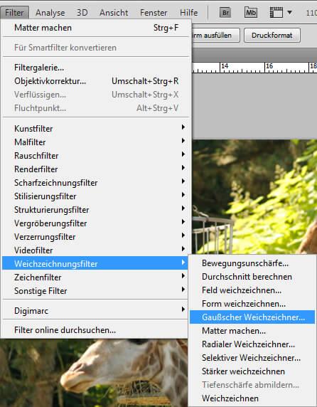 Photoshop: Filter Gaußscher Weichzeichner