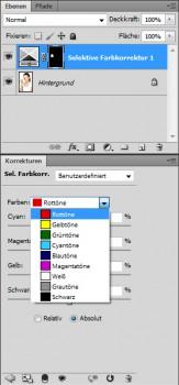 Selektive Farbkorrektur Farben