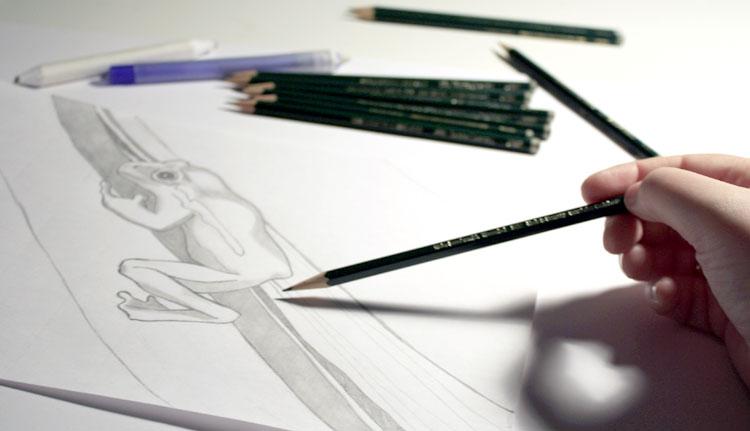 Bleistiftzeichnung schattieren