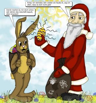 Comic: Osterhase vs. Weihnachtmann