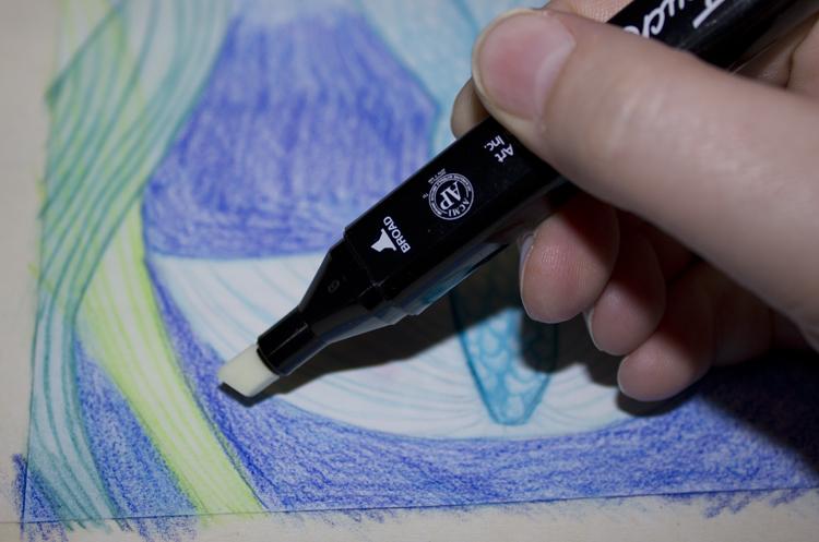 Beispielbild: Aquarellbuntstift mit Marker verblenden