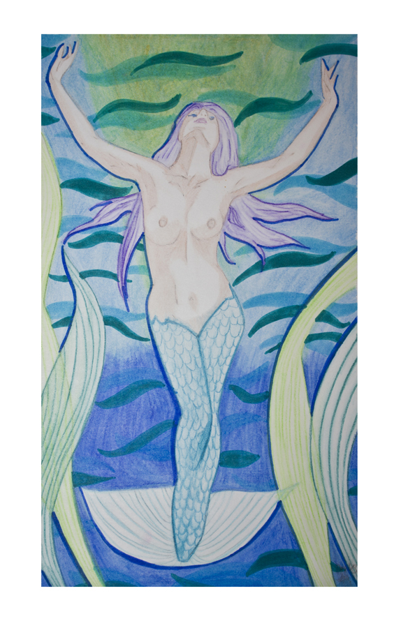 Meerjungfrau: Marker und Aquarellbuntstift