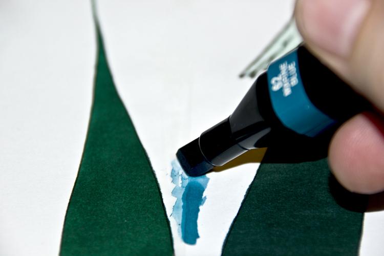 Auf Rubbelkrepp malen - Beispiel 2