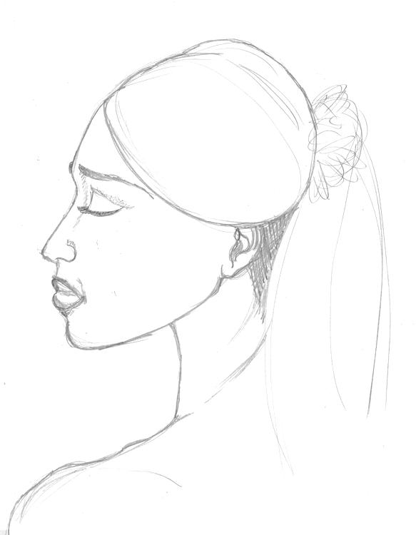 Portrait mit Bleistift aus dem Kopf gezeichnet