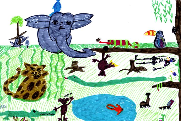 Mit Kindern zeichnen: gemaltes Dschungelbild