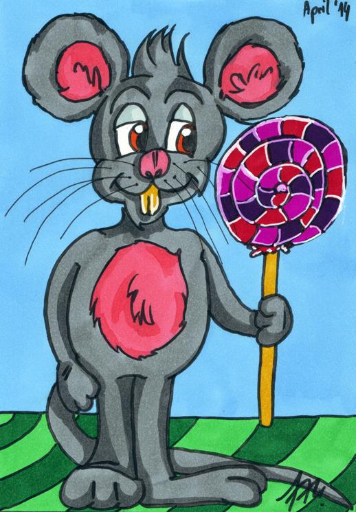 Comic-Maus: mit Markern koloriert