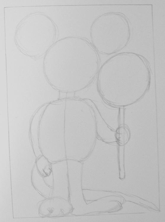 Comicmaus zeichnen Schritt 3