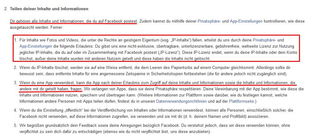 Auszug der Facebook Nutzungsbedingungen