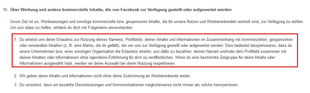 Bilder Rechte bei Facebook - Auszug der Facebook Nutzungsbedingungen
