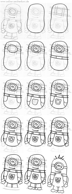 anleitungen minions zeichnen lernen f r kinder und erwachsene. Black Bedroom Furniture Sets. Home Design Ideas