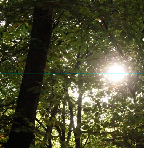 Foto Sonne: Anschnitt mit Hilfslinien