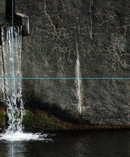 Foto Wasserfall: Anschnitt mit Hilfslinien