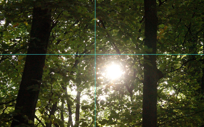 Foto Sonne: Bildausschnitt goldener Schnitt mit Hilfslinien