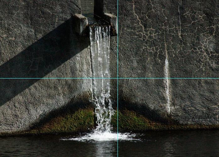 Foto Wasserfall: Bildausschnitt goldener Schnitt mit Hilfslinien