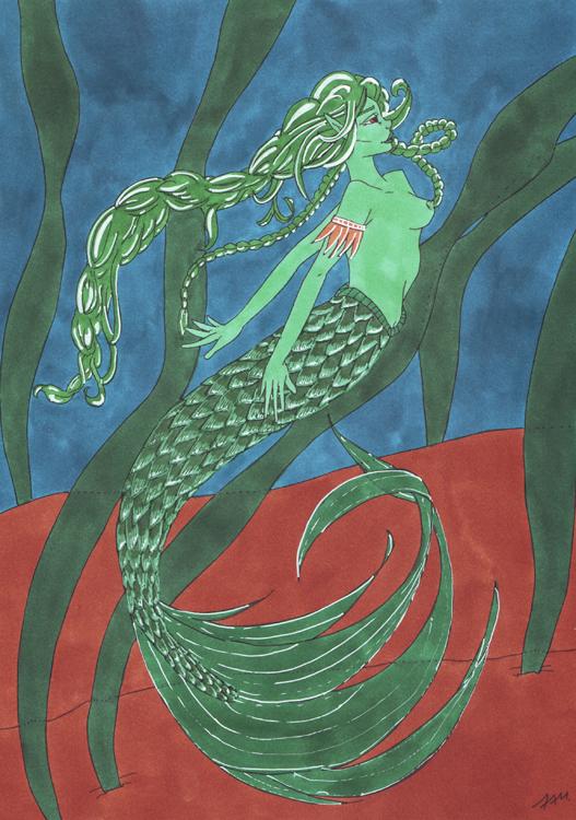 Meerjungfrauen-Bild mit weißem Gelstift