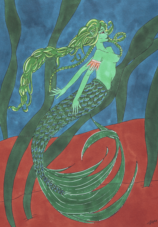 Meerjungfrauen-Bild mit weißem Gelstift und Marker