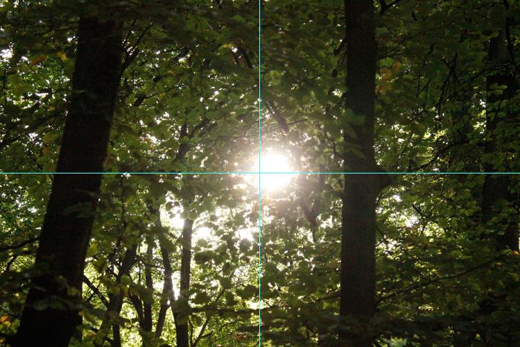 Original Foto Sonne mit Hilfslinien