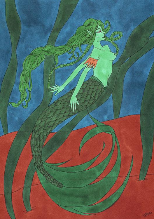 Meerjungfrauen-Bild mit Markern gemalt