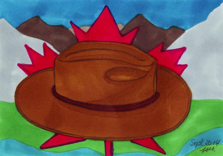 Postkarte: Hut und Ahornblatt vor Bergkulisse