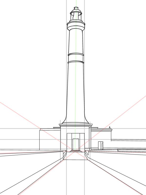zeichenanleitung zum leuchtturm zeichnen schritt f r schritt. Black Bedroom Furniture Sets. Home Design Ideas