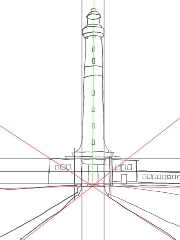 Leuchtturm zeichnen - Skizze mit Hilfslinien
