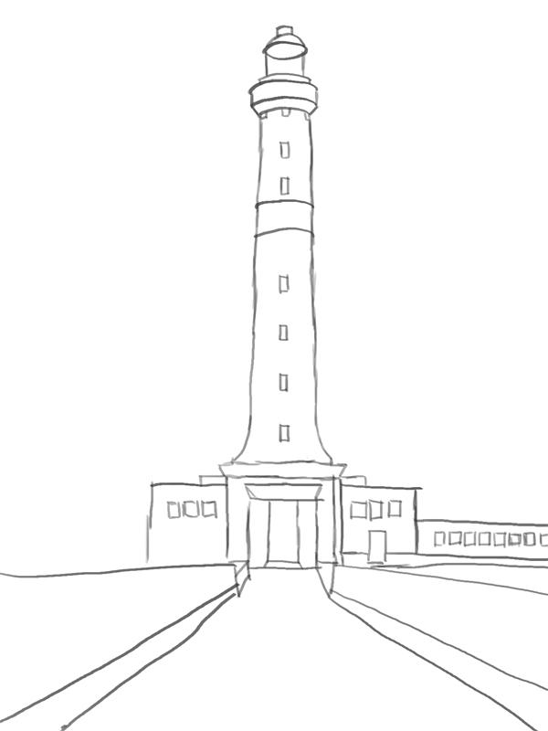 Leuchtturm zeichnen Skizze