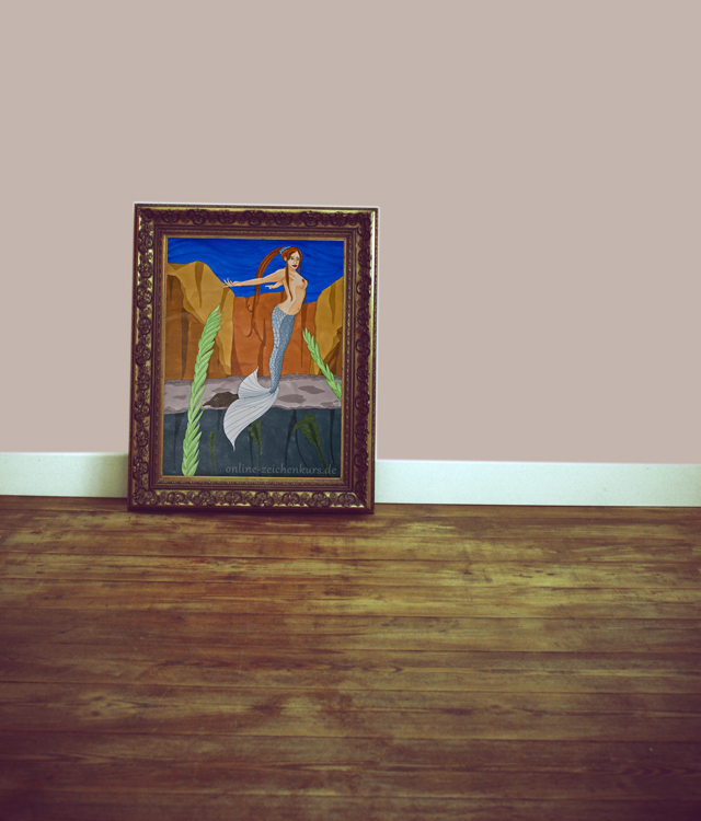 Bild im Rahmen steht im Raum