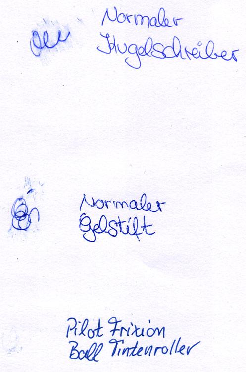 Kugelschreiber, Gelstift und Frixion Vergleich