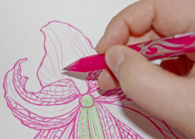 Mit Gel Kugelschreiber zeichnen und radieren