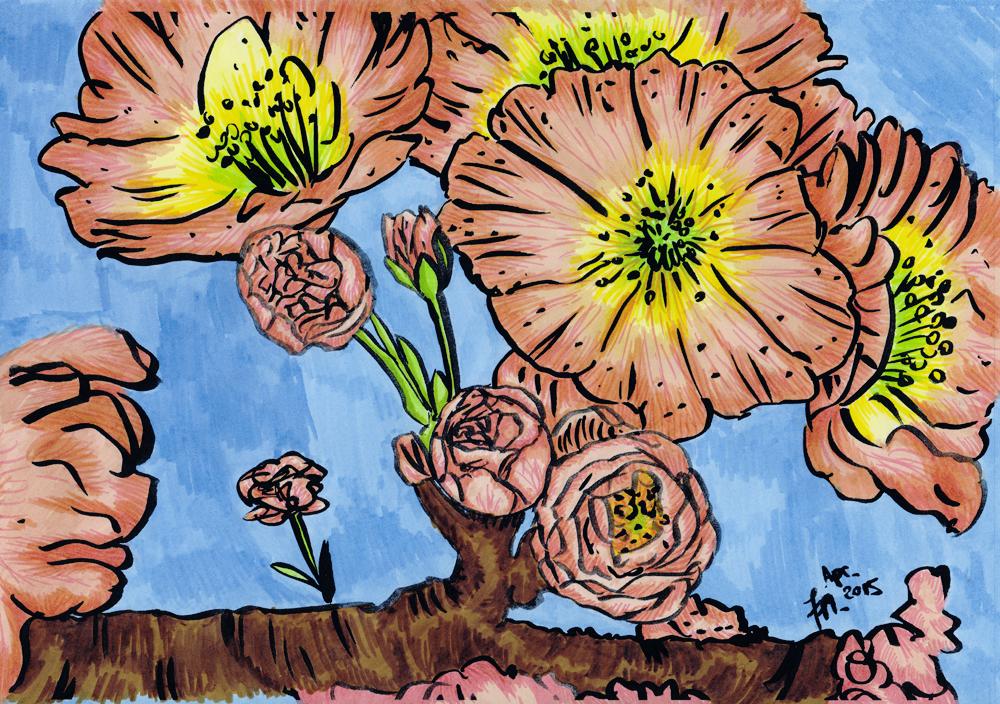 Kirschblüten zeichnen und malen