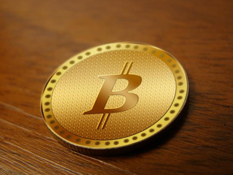 Goldene Bitcoin Münze