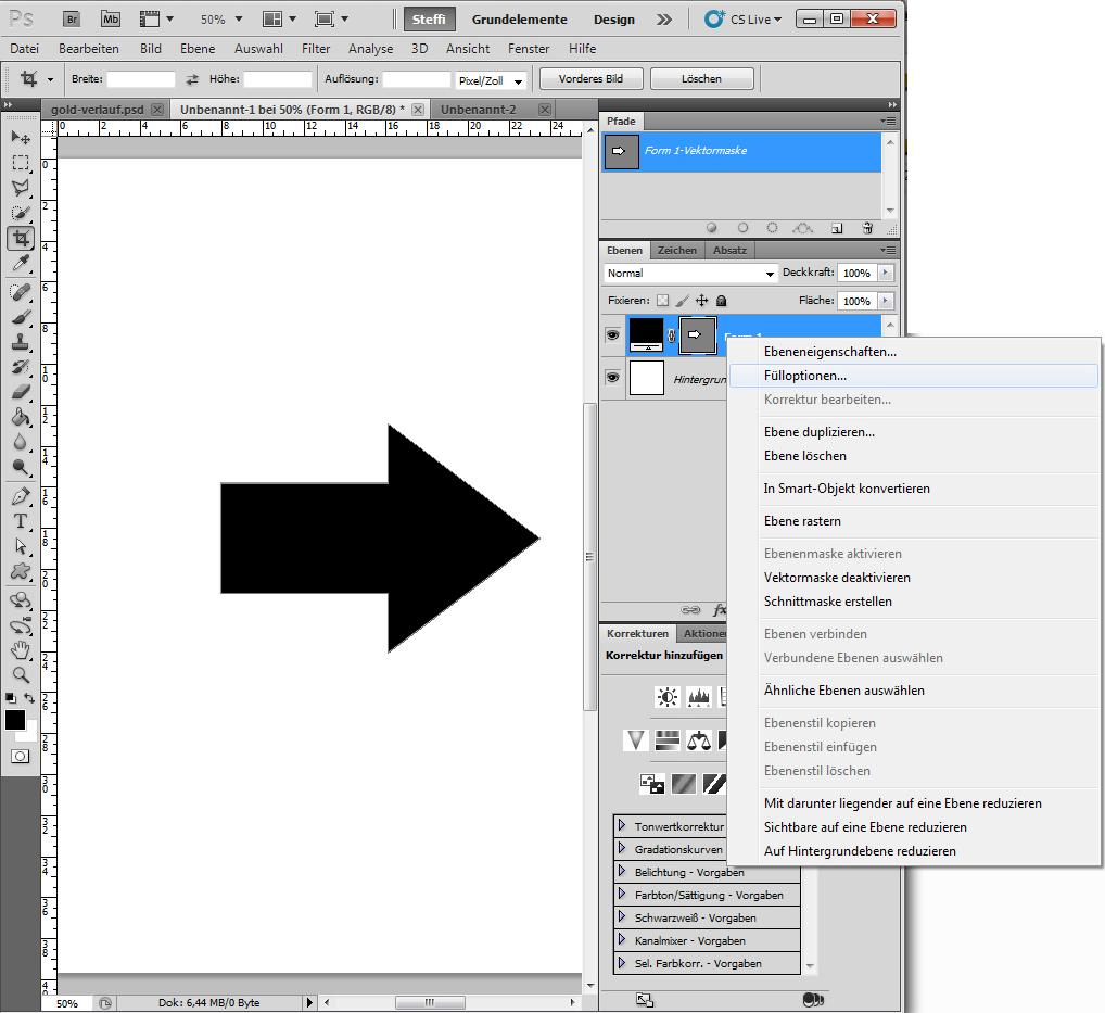 Metalleffekte in Photoshop auf Form anwenden 2