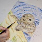 Seehund Zeichnung: Aquarellbuntstift aquarellieren 6
