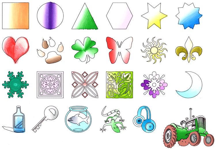 Chameleon Markertest - verschiedene Formen