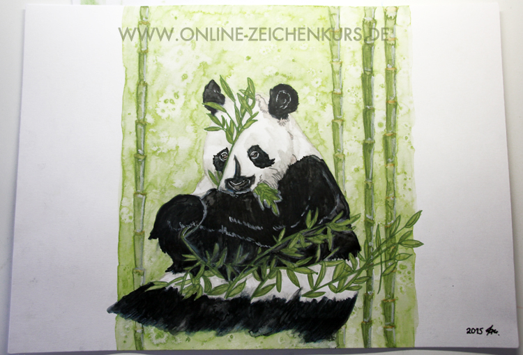 Pandabär Aquarell - fertig
