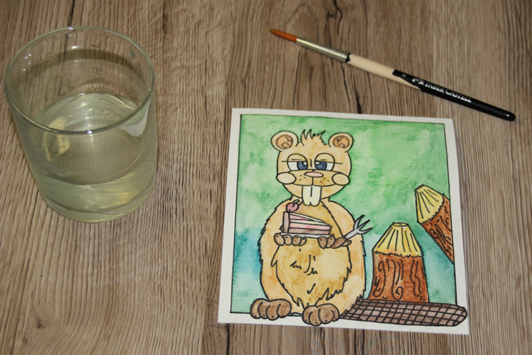 Postkarte: Comic Biber (Making of)