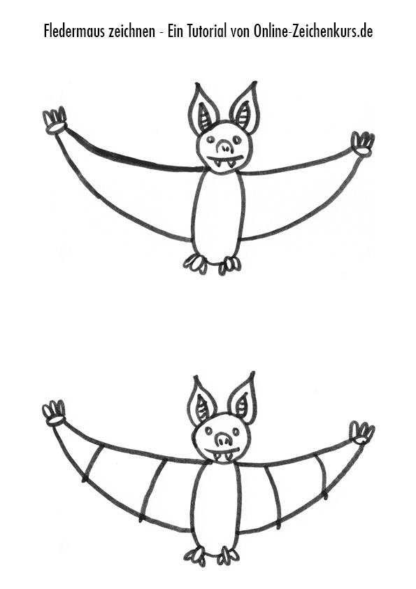 Fledermaus Zeichenanleitung 3