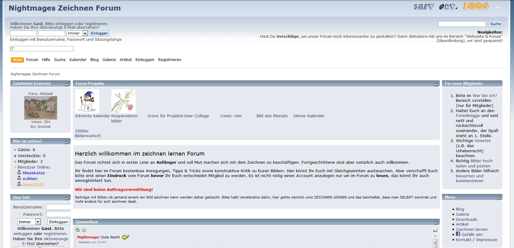 Screenshot: Zeichnen Forum (21.11.2011)