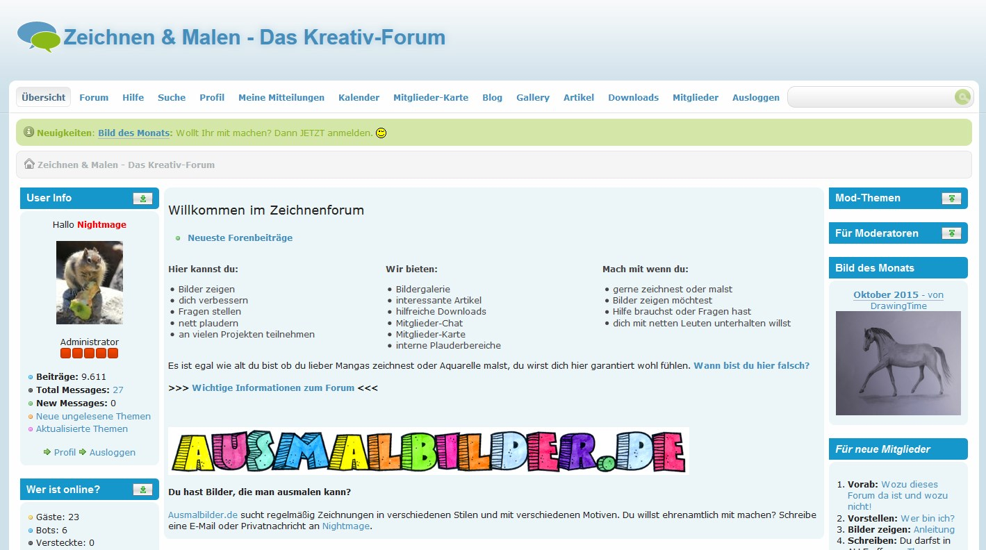 Screenshot: Zeichnen Forum (27.10.2015)