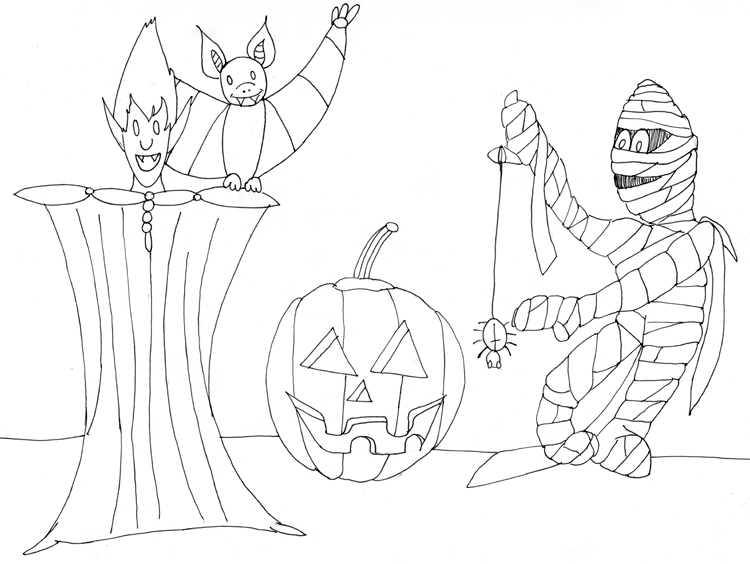 Halloween Gestalten - Fineliner Konturen