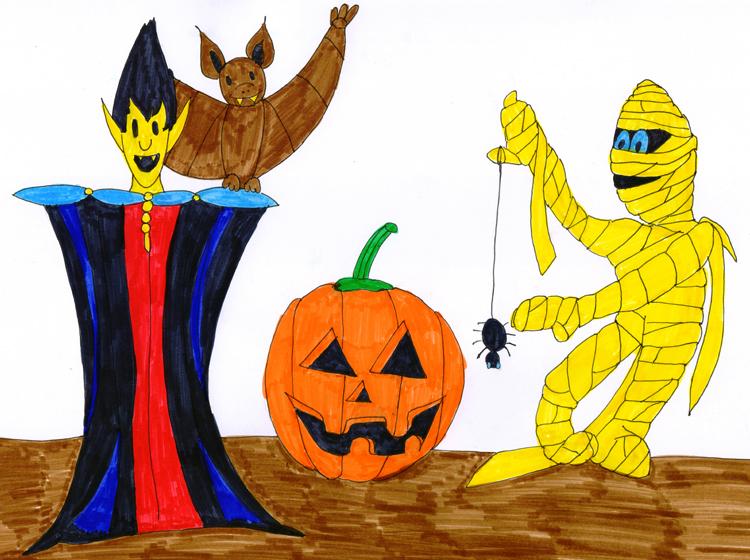 Zeichnen für Kinder: schaurige Halloween Motive