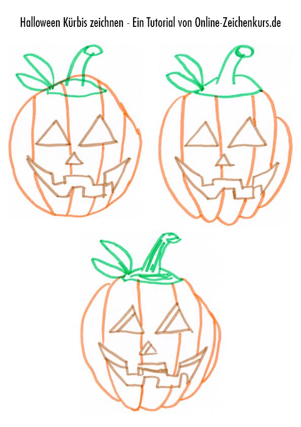 Halloweenkürbis Zeichenanleitung 2