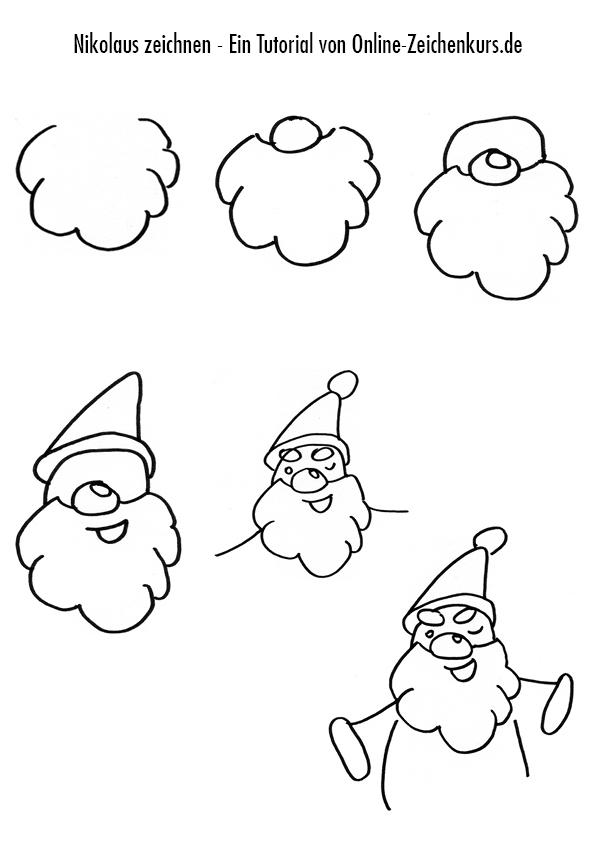 Zeichnen Anleitung: Nikolaus / Weihnachtsmann