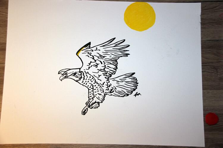 Adlerzeichnung Tuschekonturen