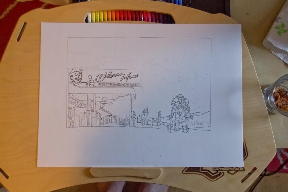 Fallout 4 Zeichnung Bleistift